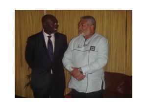 BBC's Komla Dumor with former President Jerry rawlings, Accra Ghana, July 2009